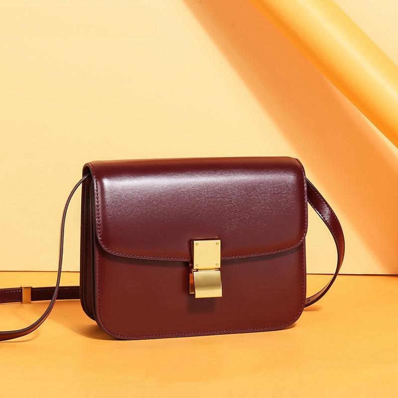 Trendinggate.com Large Edition Wine Red (Hand Rubbing) Genuine leather women's bag 2019 new tofu bag hand rub pattern cowhide single shoulder messenger bag manufacturer directly approved one piece to be sent on behalf of others