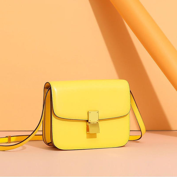 Trendinggate.com Small version of lemon yellow (hand tattoo) Genuine leather women's bag 2019 new tofu bag hand rub pattern cowhide single shoulder messenger bag manufacturer directly approved one piece to be sent on behalf of others