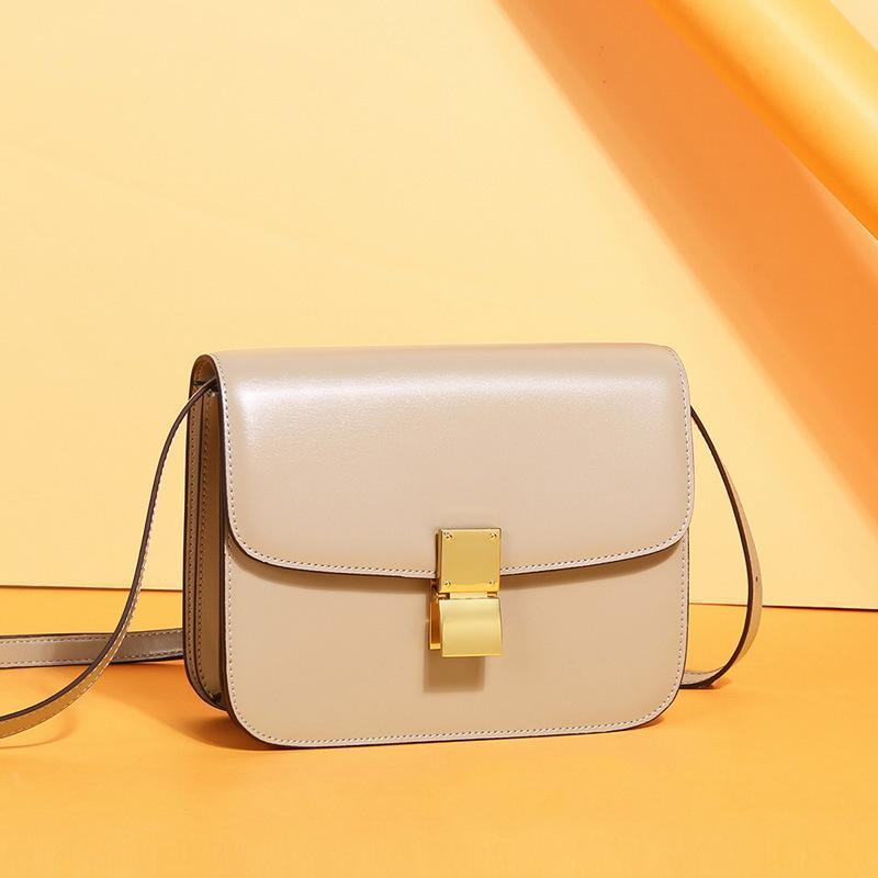 Trendinggate.com Large cream apricot (hand rub) Genuine leather women's bag 2019 new tofu bag hand rub pattern cowhide single shoulder messenger bag manufacturer directly approved one piece to be sent on behalf of others