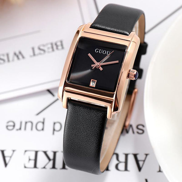 Trendinggate.com Gu'ou New Watches Simple Temperament Women's Fashion Watches Genuine Leather Belt Trend Women's Quartz Watches in Japan and Korea