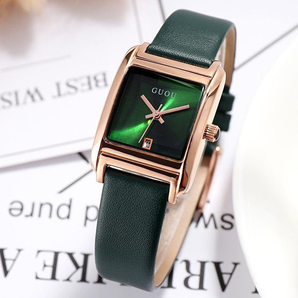 Trendinggate.com Green Gu'ou New Watches Simple Temperament Women's Fashion Watches Genuine Leather Belt Trend Women's Quartz Watches in Japan and Korea