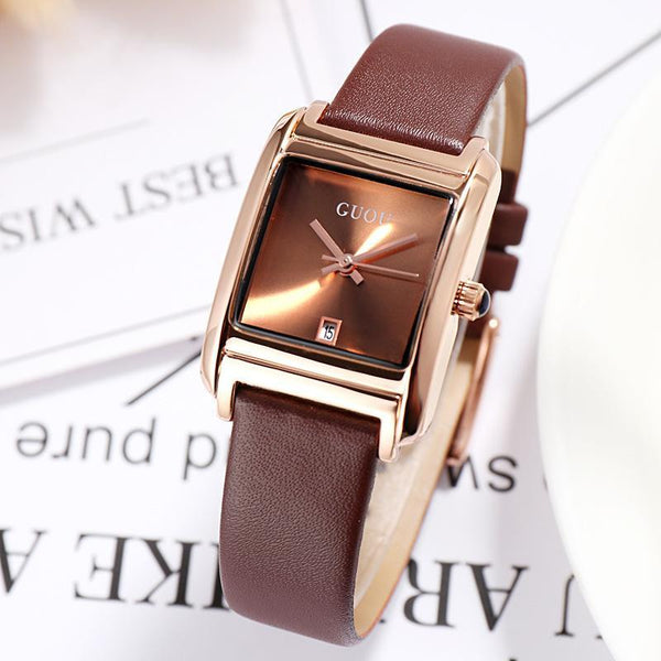 Trendinggate.com Khaki Gu'ou New Watches Simple Temperament Women's Fashion Watches Genuine Leather Belt Trend Women's Quartz Watches in Japan and Korea