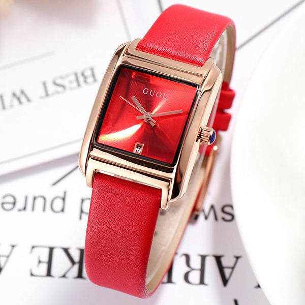 Trendinggate.com Red Gu'ou New Watches Simple Temperament Women's Fashion Watches Genuine Leather Belt Trend Women's Quartz Watches in Japan and Korea