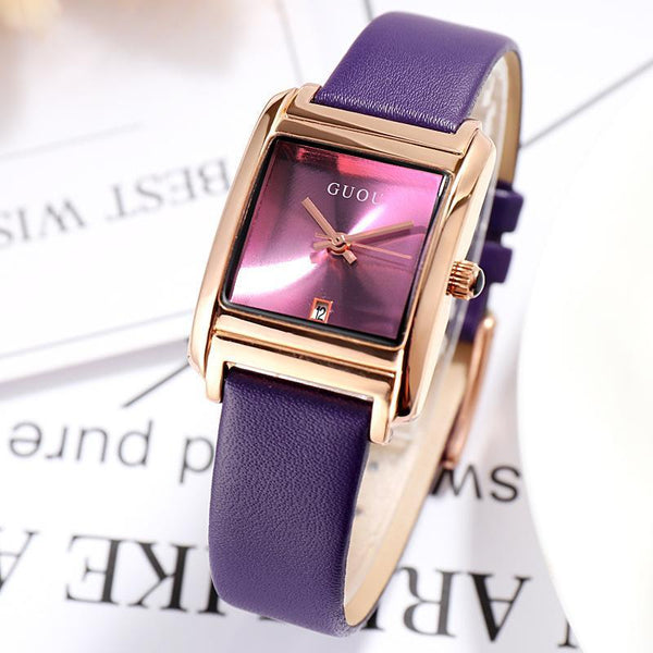 Trendinggate.com Violet Gu'ou New Watches Simple Temperament Women's Fashion Watches Genuine Leather Belt Trend Women's Quartz Watches in Japan and Korea
