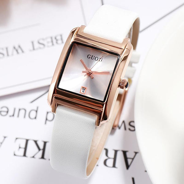 Trendinggate.com white (colour) Gu'ou New Watches Simple Temperament Women's Fashion Watches Genuine Leather Belt Trend Women's Quartz Watches in Japan and Korea