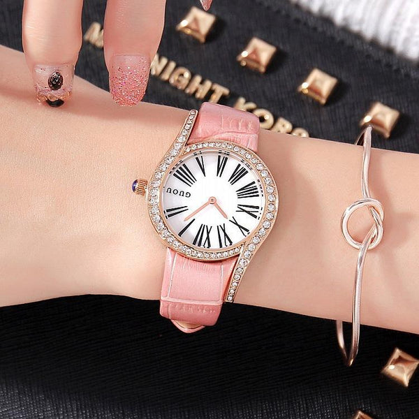 Trendinggate.com Gu'ou's new fashionable personality Diamond Dial Leather Strap leisure Korean version of women's watches a wholesale