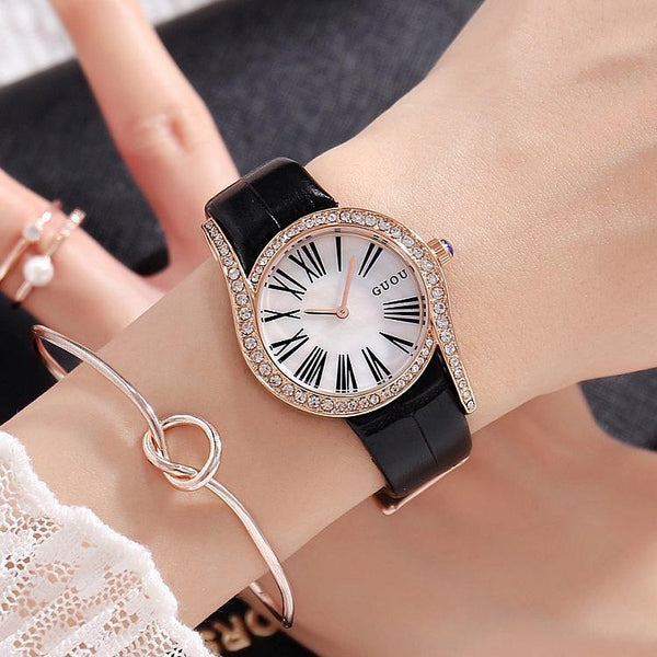 Trendinggate.com Black Belt Gu'ou's new fashionable personality Diamond Dial Leather Strap leisure Korean version of women's watches a wholesale