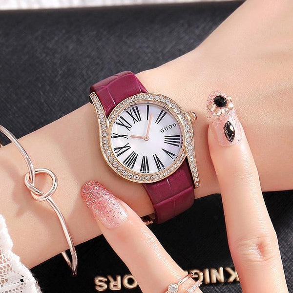 Trendinggate.com Purple leather belt Gu'ou's new fashionable personality Diamond Dial Leather Strap leisure Korean version of women's watches a wholesale