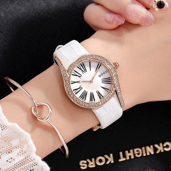 Trendinggate.com White belt Gu'ou's new fashionable personality Diamond Dial Leather Strap leisure Korean version of women's watches a wholesale