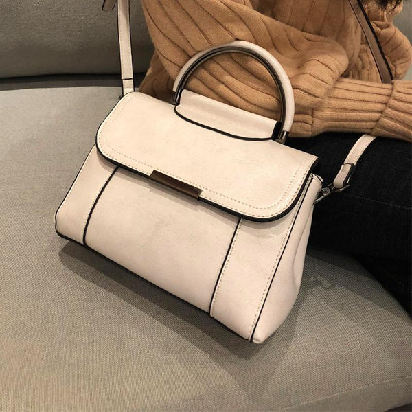 Trendinggate.com creamy-white Guangzhou manufacturers wholesale Korean style 2019 new leather women's bag oil wax cow leather fashion versatile handbag trend