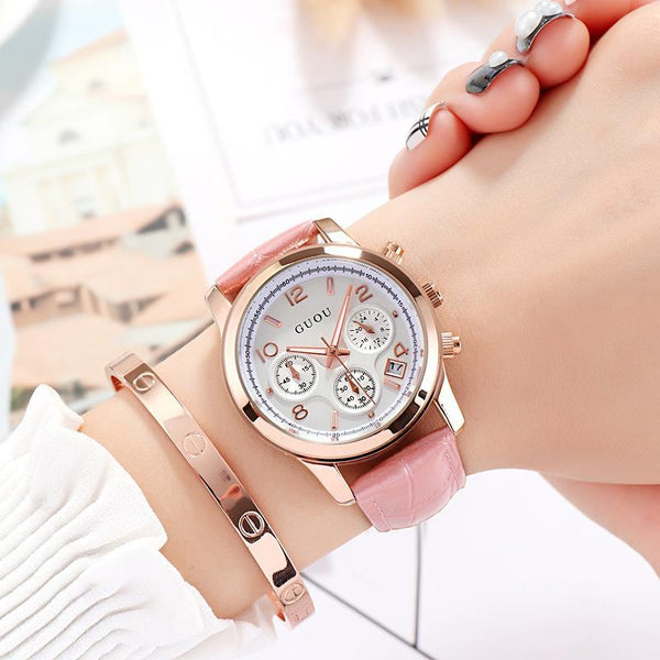 Trendinggate.com 粉色 GUOUHong Kong Guo Ms watches classic retro leisure quartz watches women's watches support a surrogate hai