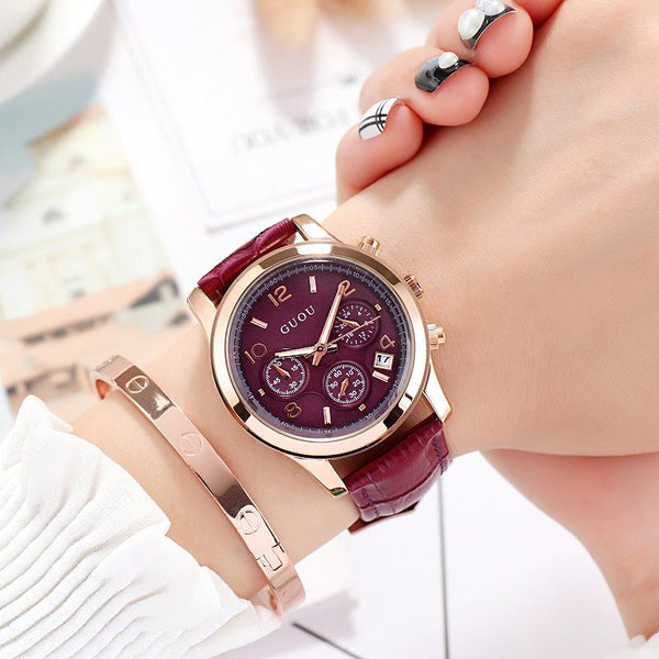 Trendinggate.com 紫色 GUOUHong Kong Guo Ms watches classic retro leisure quartz watches women's watches support a surrogate hai