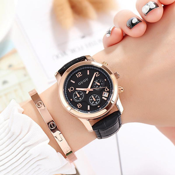 Trendinggate.com 黑色 GUOUHong Kong Guo Ms watches classic retro leisure quartz watches women's watches support a surrogate hai