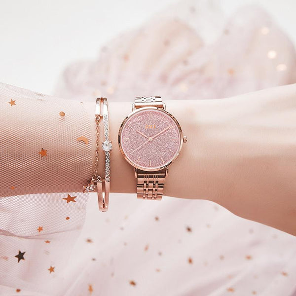 Trendinggate.com Rose gold powder noodles Gypsophila French minority watches ladies starry sky waterproof Mori girl students Korean version of simple ins Mori girl watches
