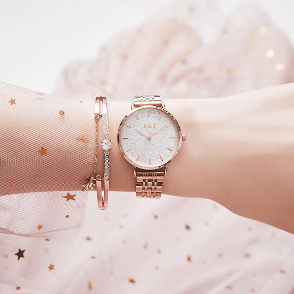 Trendinggate.com Rose golden white noodles Gypsophila French minority watches ladies starry sky waterproof Mori girl students Korean version of simple ins Mori girl watches