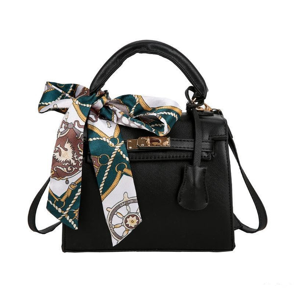 Trendinggate.com black handbags2019Euro-American stereotyped PU Kelly scarf handheld lock buckle single shoulder diagonal lady bag