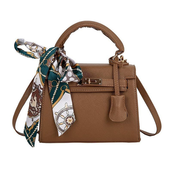 Trendinggate.com Brown handbags2019Euro-American stereotyped PU Kelly scarf handheld lock buckle single shoulder diagonal lady bag