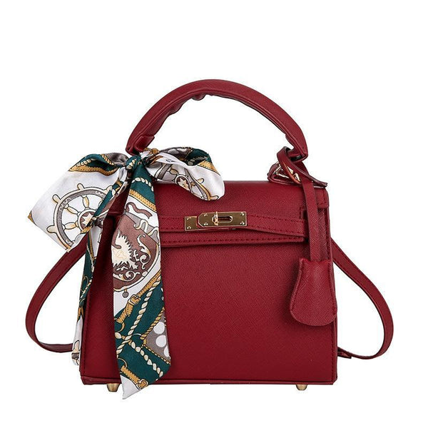 Trendinggate.com gules handbags2019Euro-American stereotyped PU Kelly scarf handheld lock buckle single shoulder diagonal lady bag