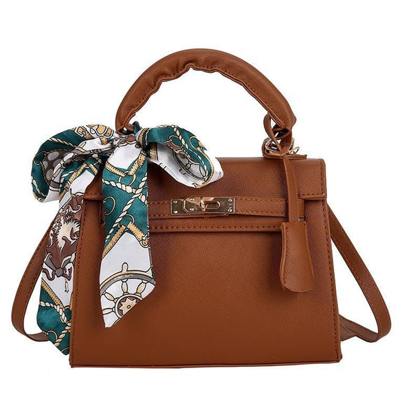 Trendinggate.com Khaki handbags2019Euro-American stereotyped PU Kelly scarf handheld lock buckle single shoulder diagonal lady bag
