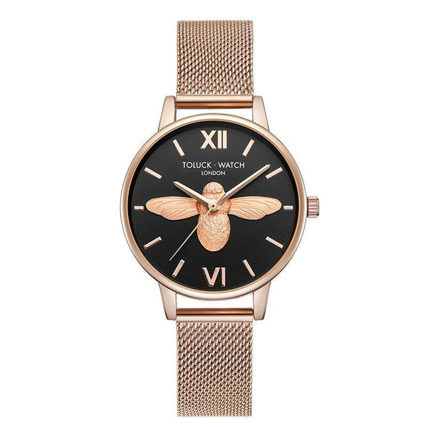 Trendinggate.com Black【Spot】 Honeybee ob Lightweight and Luxury French Minority Watch Ladies Tremble Nethong Simple Watch Students of the Same Fashion Trend