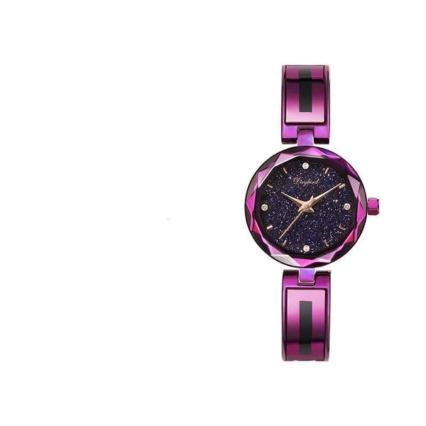 Trendinggate.com Purple shell with blue starry sky Hot hot burst women's watch star when to run the watch women's net red shake sound the same source factory spot