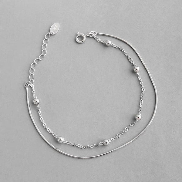 Trendinggate.com HSL005Korean version of silver S925 sterling silver personality very simple beads snake bone chain double student female bracelet chain ornaments (White gold 925silver)