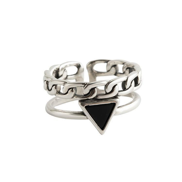 Trendinggate.com Japan and South Korea new s925 pure silver ring women's opening geometric setstone trend silver hand-trimmed geometric hemp ring (s925Pure silver Opening adjustable)