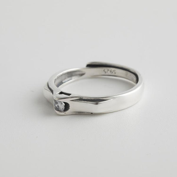 Trendinggate.com Japan and South Korea wind new s925 pure silver ring girl opening temperament simple silver hand jewelry trend set diamond ring (s925[Treatment] fine silver Openings adjustable)