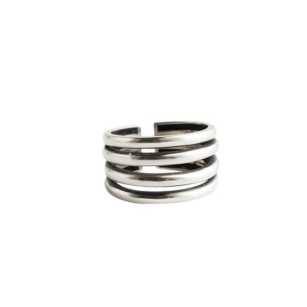 Trendinggate.com Japan and South Korea wind new s925 pure silver ring girl scant simple personality silver finger ring U-shaped fashion silver jewelry (S925 Opening adjustable)
