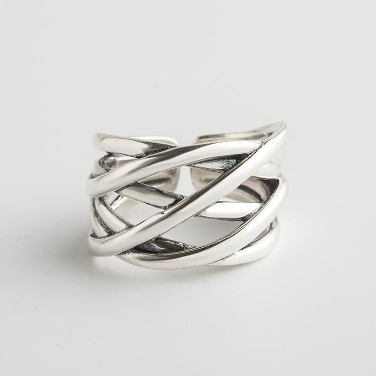 Trendinggate.com Japan and South Korea wind new s925 pure silver ring girl small fresh temperament silver hand jewelry geometric simple silver ring (s925[æ²»] fine silver )