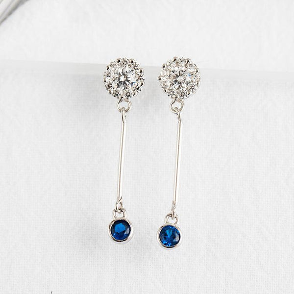 Trendinggate.com Japan and South Korea wind new s925 sterling silver earrings female studded fashion personality long earrings fashion simple blue earrings (blue 925Silver)