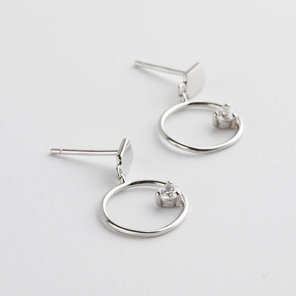 Trendinggate.com Japan and South Korea wind new s925 sterling silver earrings girls geometric inlaid zircon small fresh Tremella fashion silver earrings (925Silver)