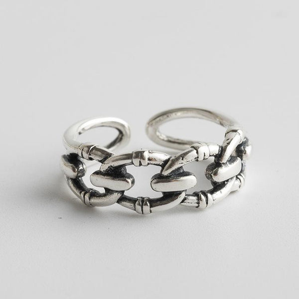 Trendinggate.com Japan and South Korea wind new s925 sterling silver ring women's minimalist fashion temperament silver finger ring mesh retro silver jewelry (S925[治] fine silver  Opening adjustable)