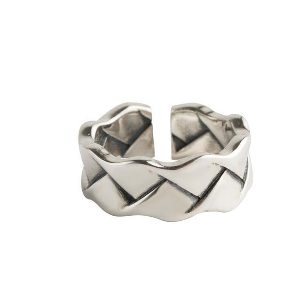 Trendinggate.com Japan-Korea wind new s925 pure silver ring girl retro Thai silver opening finger ring simple wavy silver bracelet (s925Sterling Silver Opening adjustable)