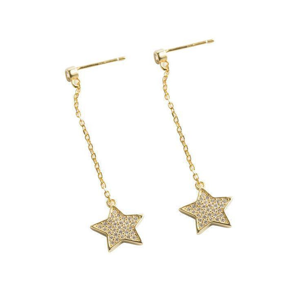 Trendinggate.com Japanese and Korean S925 Silver Ear Nail Girls Drill Individual Fashion Trendy Silver Ear Jewelry Simple Star Ear Drop (18KYellow gold 925silve)