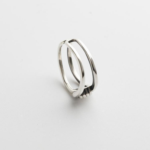 Trendinggate.com Japanese and Korean style s925 sterling silver ring girl hemp rope open art silver hand decoration retro simple ring wholesale (S925 Opening adjustable)