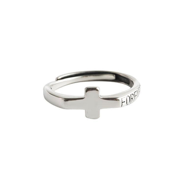 Trendinggate.com Japanese and Korean style s925 sterling silver ring girl personality retro open cross silver hand decoration to make old temperament ring (s925Sterling Silver Opening adjustable)