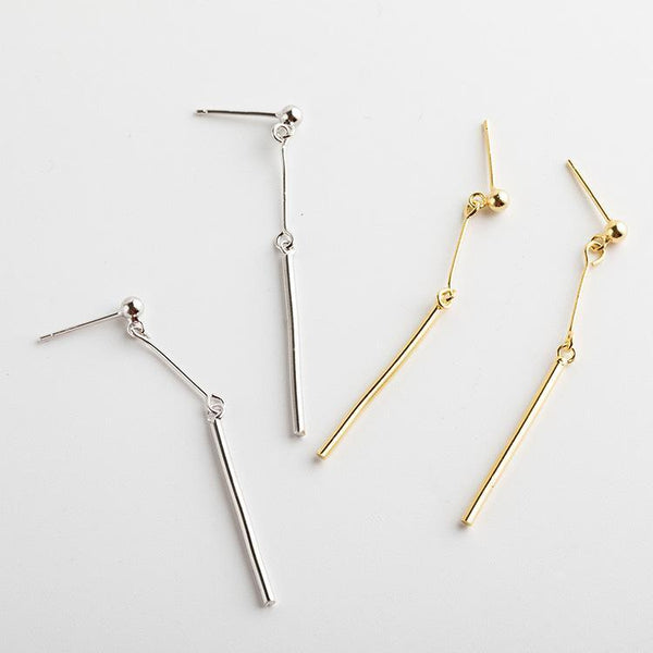 Trendinggate.com Korean version of the new Korean S925 pure silver ear nail girls geometric long simple silver ear drop artistic clear ear line