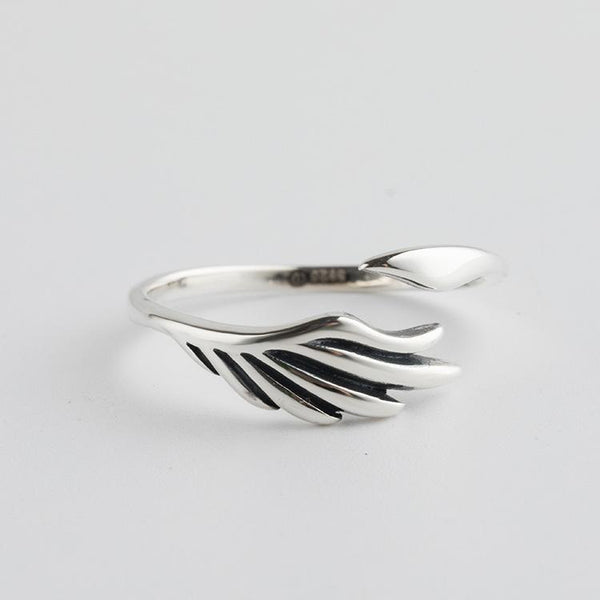 Trendinggate.com Korean version of the new Korean S925 Sterling Silver Ring girls open small fresh feathers silver finger ring simple silver jewelry (S925[cure] fine silver Openings adjustable)