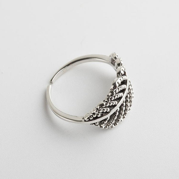 Trendinggate.com Korean version of the new Korean S925 Sterling Silver Ring girls simple opening to make old silver hand ornaments leaf retro Silver Ring (s925Sterling Silver Opening adjustable)