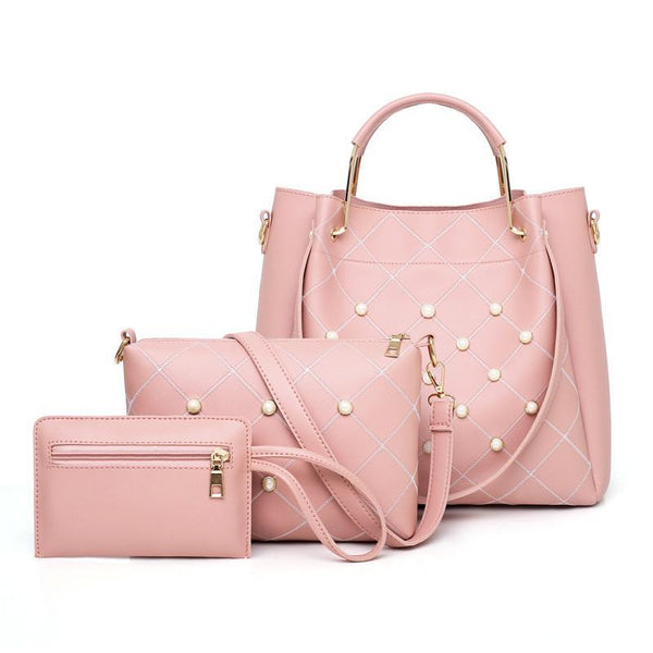 Trendinggate.com Pink ladies hand bags2019Contrast embroidered pearls shoulder-to-shoulder hand-in-hand slung portable bag