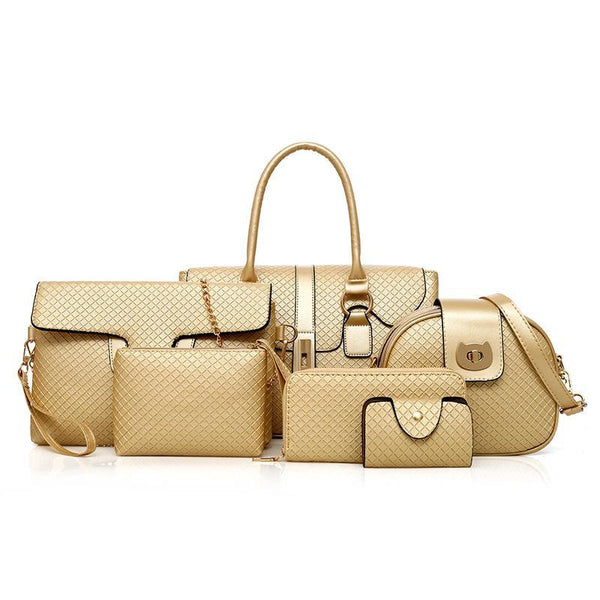 Trendinggate.com golden ladies handbags Baonu Bao 2019 New Kids and Bags Six-piece Set of Diamond Chequered Bag Foreign Trade Explosion Factory