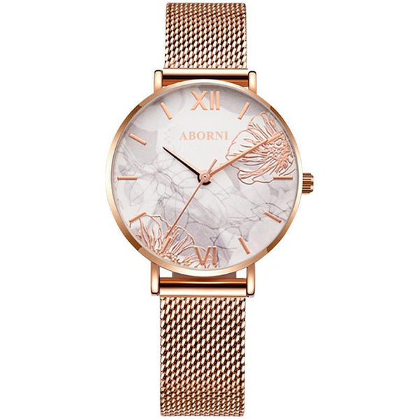 Trendinggate.com Line engraved flowe Ladies watch wrist garden shake sonic boom net red light luxury French minor OB fashion waterproof watches