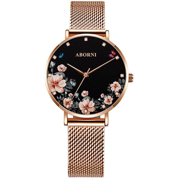 Trendinggate.com The drilling face is elegant and black Ladies watch wrist garden shake sonic boom net red light luxury French minor OB fashion waterproof watches