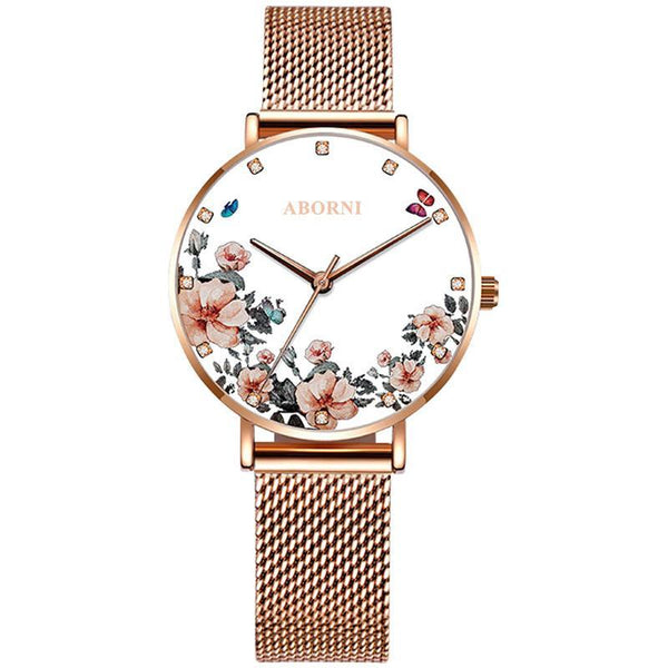 Trendinggate.com The drilling face is elegant and white Ladies watch wrist garden shake sonic boom net red light luxury French minor OB fashion waterproof watches