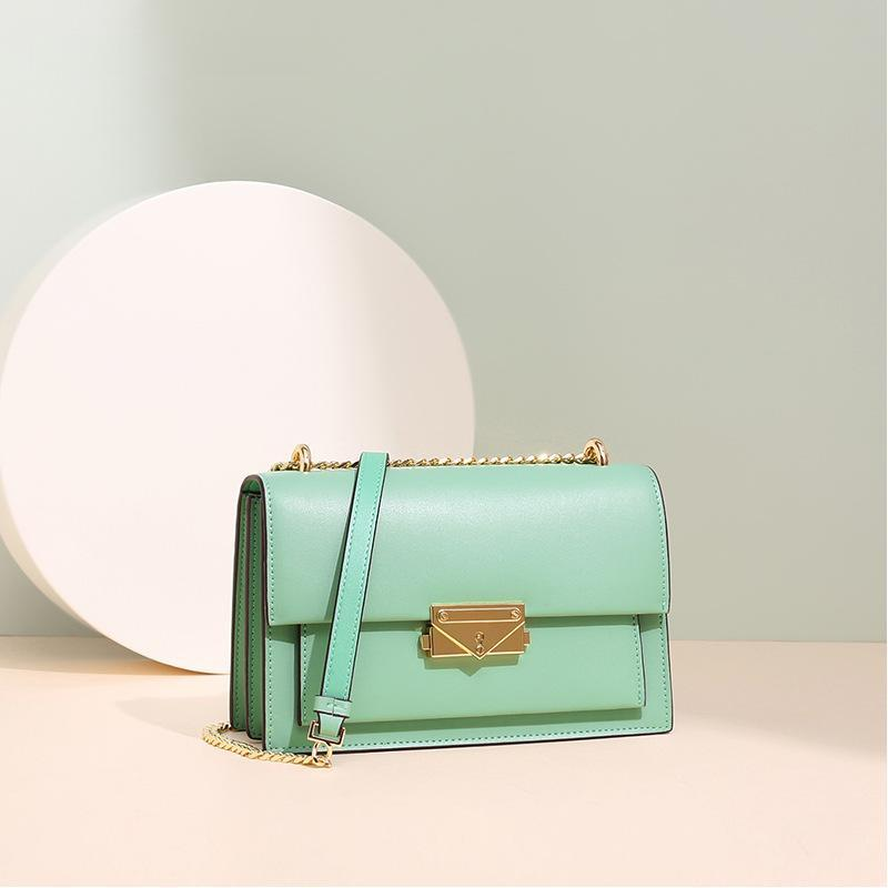 Trendinggate.com grass green Leather bag women's 2019 new summer's all-in-one Leather Shoulder Messenger chain bag small square bag for sourcing