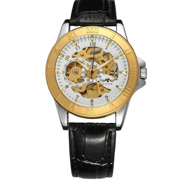 https://detail.1688.com/offer/597499764283.html Black leather, gold and white flour Leather hollow mechanical watch