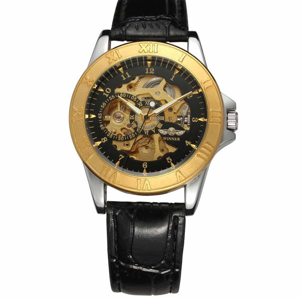 https://detail.1688.com/offer/597499764283.html Black leather, gold, black face. Leather hollow mechanical watch