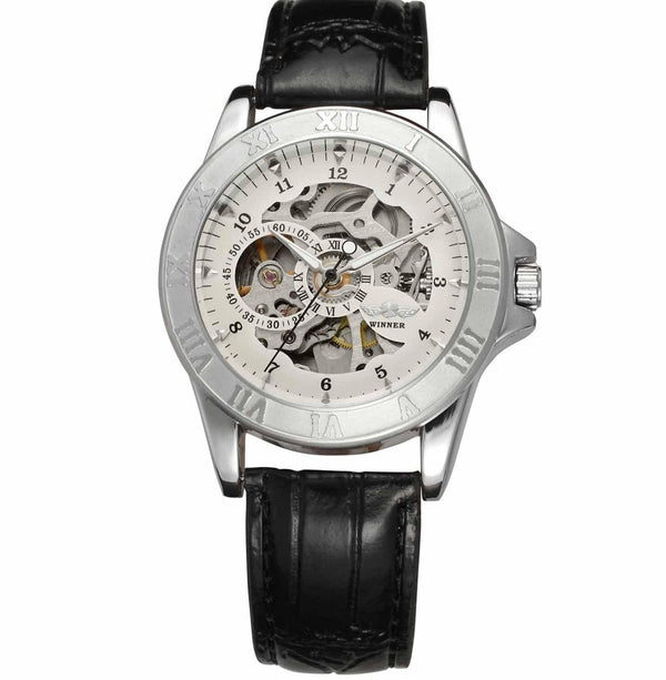 https://detail.1688.com/offer/597499764283.html Black leather, silver and white face Leather hollow mechanical watch