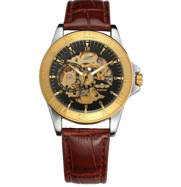 https://detail.1688.com/offer/597499764283.html Brown leather black face Leather hollow mechanical watch
